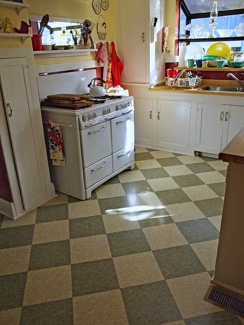 Inspirational vintage kitchen tile floor a photo on flickriver - Retro flooring kitchen ...