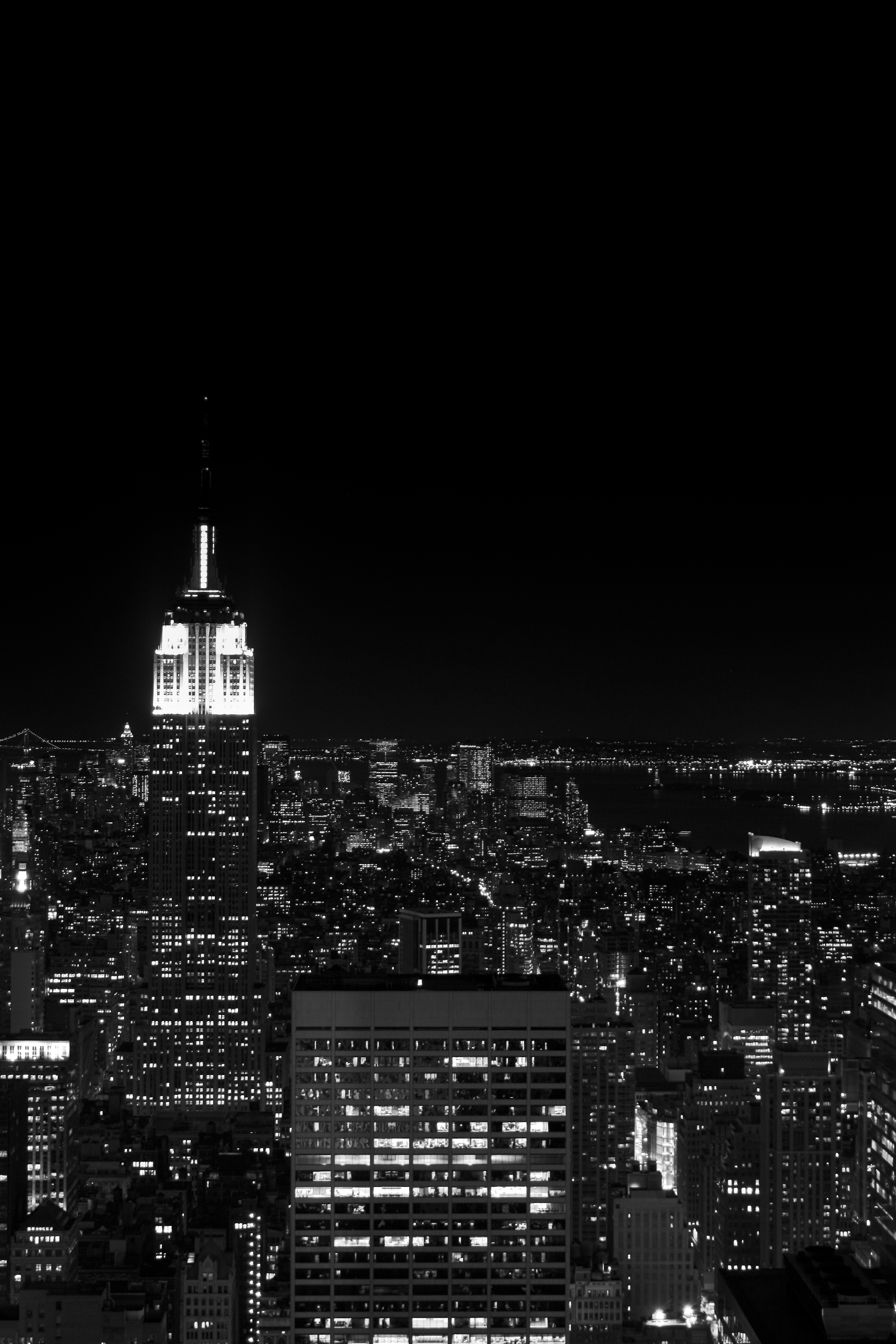 Building At Night Black And White Empire State Building At Night B W