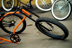 automotive tire(0.0), road bicycle(0.0), bicycle motocross(0.0), cyclo-cross bicycle(0.0), racing bicycle(0.0), tire(1.0), wheel(1.0), vehicle(1.0), sports equipment(1.0), rim(1.0), cycle sport(1.0), bicycle wheel(1.0), bicycle frame(1.0), bicycle(1.0), spoke(1.0),