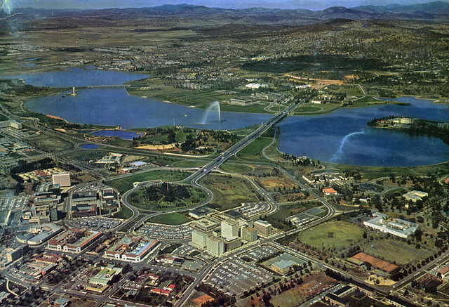 Aerial view of Canberra City, c1970
