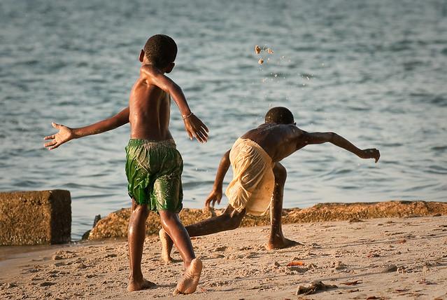 Kids at a beach at Mussulo, Angola