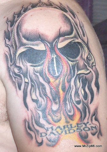 Harley skull tattoo 5 flickr photo sharing for Harley skull tattoos