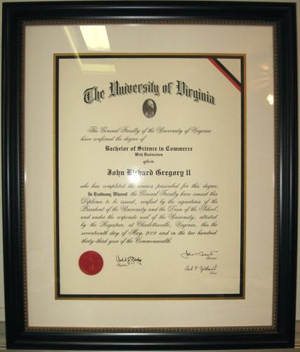 University of Virginia  UVA  Diploma Frames and Custom