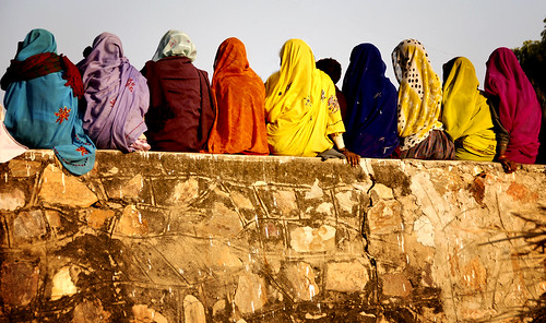 Pushkar, women on the wall