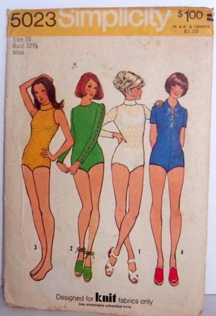 Vintage Simplicity Pattern 5023 Leotard Bodysuit Dance Size 10 Bust 32.5 Waist 25 Hip 34.5 mod