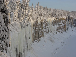 Icicles in the river valley