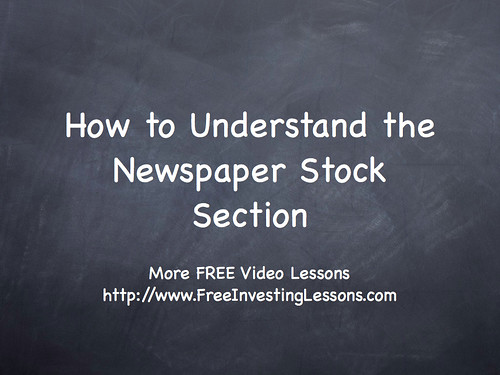 Chpt6-SecC: How To Understand the Newspaper Stock Section by palynp