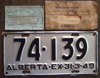 ALBERTA 1948 license plate with matching registration slip