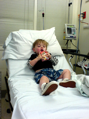 sequoia, relaxing with a juicebox in the emergency room   DSC01166