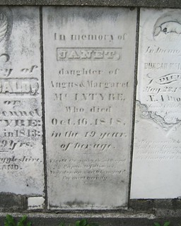 Janet McIntyre - buried in 1848 at the Kilmartin Cemetery, Yarmouth, Elgin, Ontario, Canada