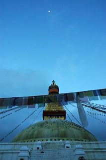 Moon phase over Boudha Stupa, Kathmandu, Nepal as Lam Dre begins
