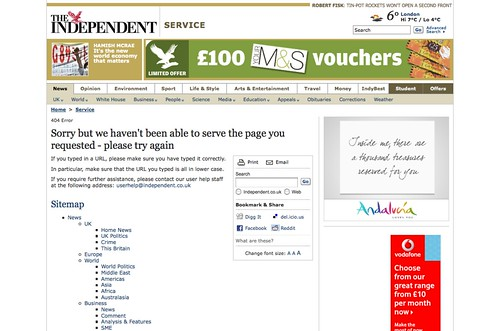 """the independent"" 404 error"