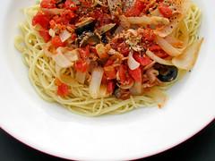 fettuccine(0.0), carbonara(0.0), spaghetti alla puttanesca(1.0), bucatini(1.0), spaghetti(1.0), pasta(1.0), spaghetti aglio e olio(1.0), linguine(1.0), produce(1.0), food(1.0), dish(1.0), european food(1.0), capellini(1.0), cuisine(1.0),