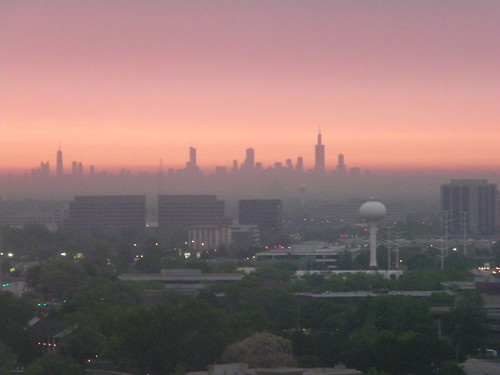 Chicago Skyline During Sunrise from Lombard, Illinois
