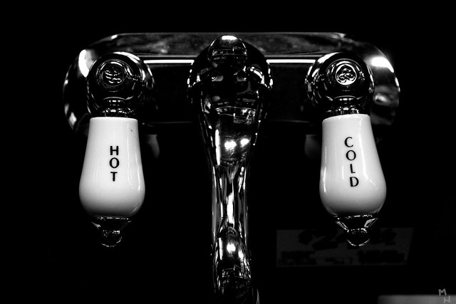 hot and cold faucet handles