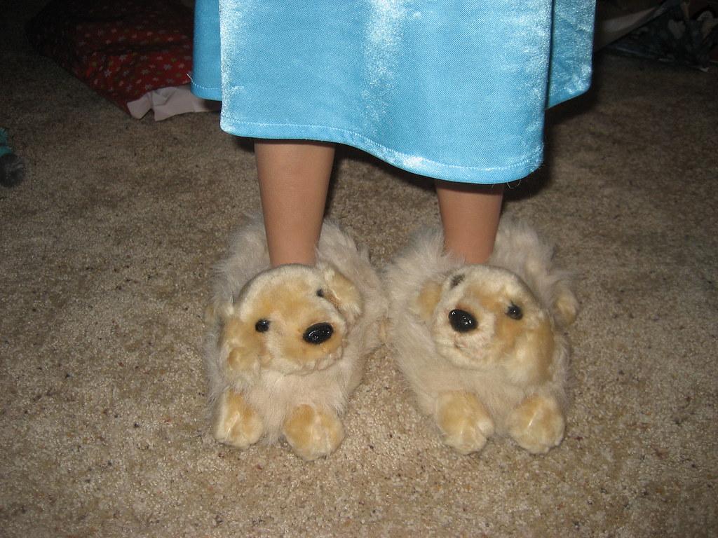 Ellie's new slippers...golden retriever