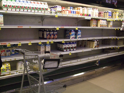 Bare shelves on Christmas Eve