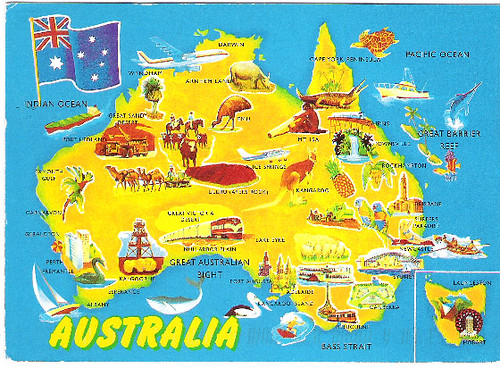 Australia Map Postcard Map Of Australia Australia Land