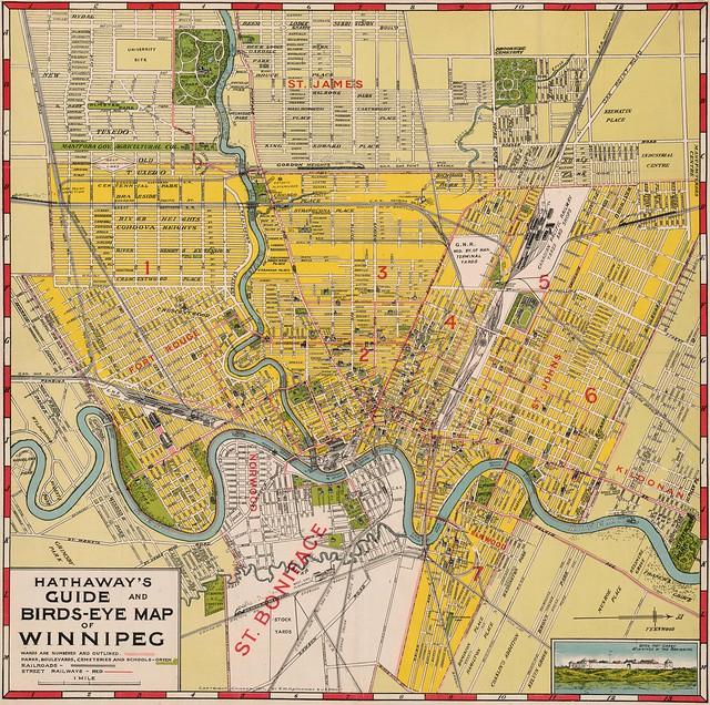 Hathaways Guide And Birds Eye Map Of Winnipeg 1911