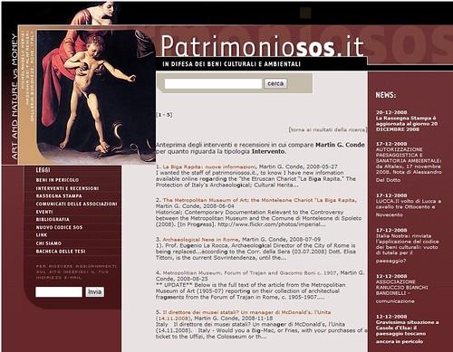 Martin G. Conde, Protecting italy Cultural Heritage. Intervento, ecc. (ed.), Patrimoniosos.it 2008