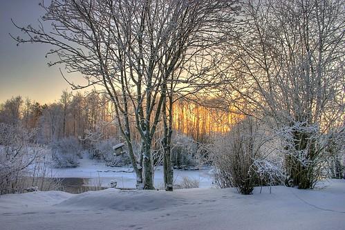 winter snow sunrise finland river hdr nivala