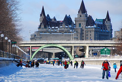 Ice skaters on the frozen Rideau Canal