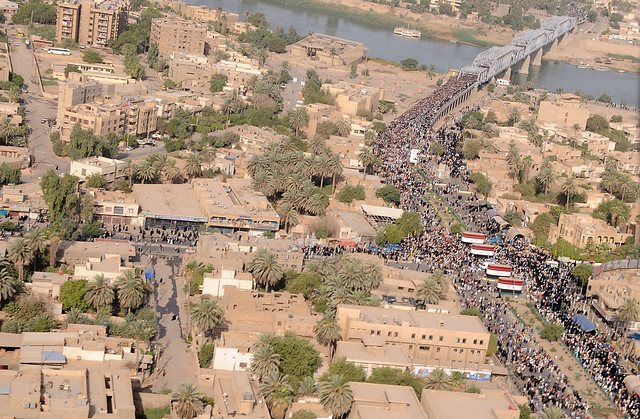 Pilgrims Cross Over New Bridge in Iraq