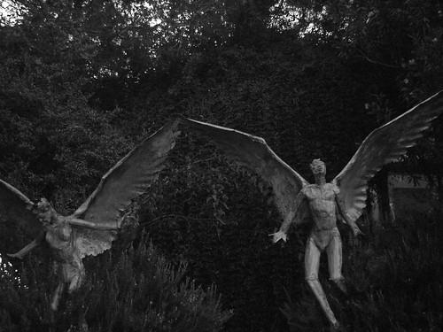 arizona blackandwhite bw overgrown angel dark wings creepy angels grainy bisbee winged bisbeearizona angelstatues skyrocketprophet