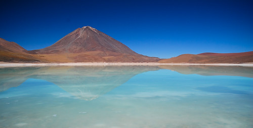 travel blue sky orange mountain lake abstract reflection green southamerica water volcano nikon bolivia andes laguna tamron altiplano lagunaverde d80