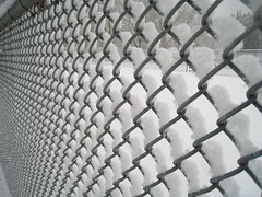 chain-link fencing, mesh, iron,