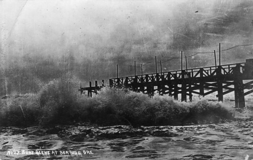 Surf scene and pier at Seaside, Oregon