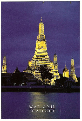 Thailand temple night postcard