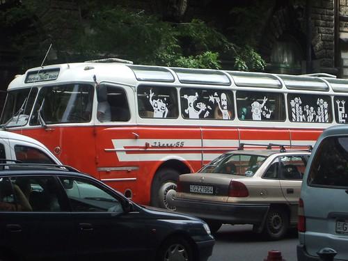Ikarusz 55 between plastic cars