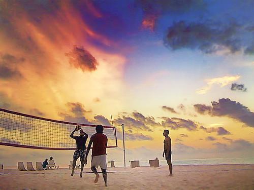Sunset Volleyball at a Maldives Resort
