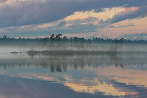 blue mist reflection fall fog clouds landscape newhampshire auburn nh lakemassabesic broompl canon40d ladiesisland