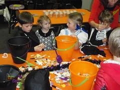 Decorating halloween buckets!