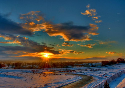 road winter sunset sky sun snow clouds washington nw view nikond50 wa hdr richland kennewick pasco tricities excellentphotographerawards