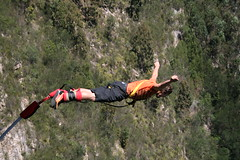 sport climbing(0.0), abseiling(0.0), physical exercise(0.0), adventure(1.0), bungee jumping(1.0), bungee cord(1.0), sports(1.0), recreation(1.0), outdoor recreation(1.0), extreme sport(1.0), person(1.0),