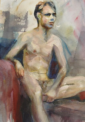 Figure study of Alex in watercolor
