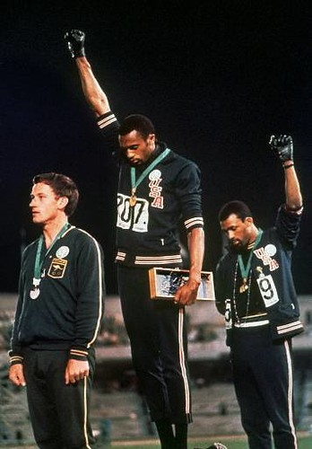 Tommie Smith and John Carlos at the 1986 Olympics