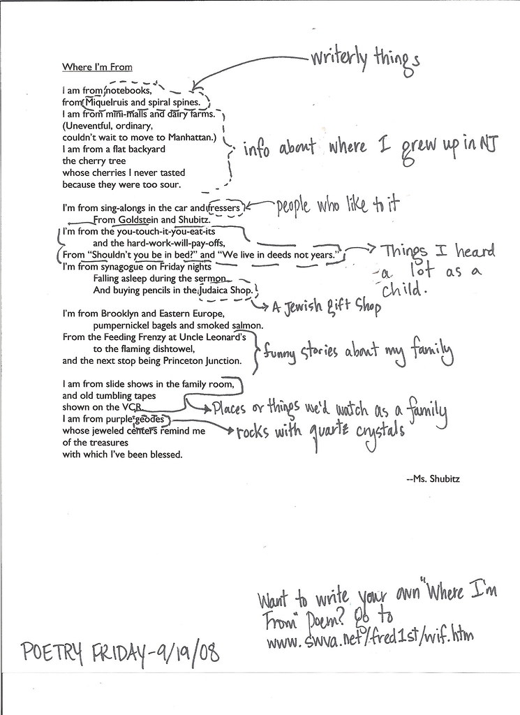 P f getting to know the teacher two writing teachers for Where i am from poem template