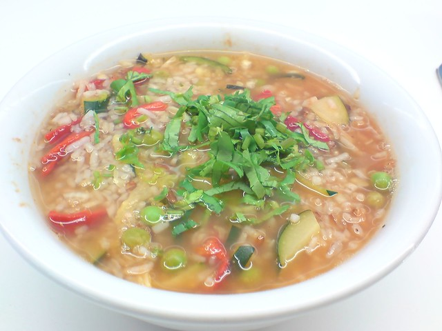 Spring Vegetable and Rice Minestrone Soup