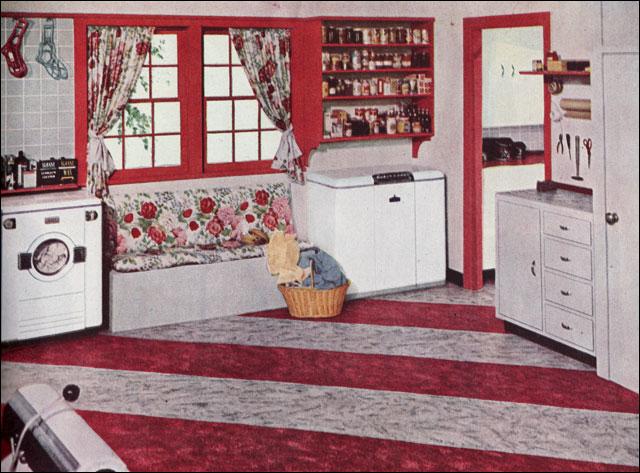 1949 Sloan-Blabon Linoleum Laundry Room Ad