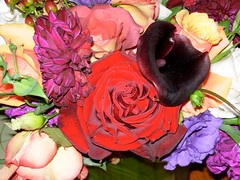 Velvet blossoms in wedding bouquet