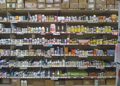supermarket(0.0), convenience store(0.0), bookselling(0.0), aisle(0.0), grocery store(0.0), prescription drug(0.0), drug(1.0), pharmacy(1.0), retail-store(1.0), pharmaceutical drug(1.0),