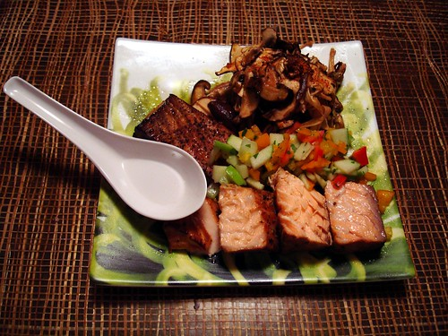 Tea Smoked Salmon with Mushrooms in Soy Sake Butter