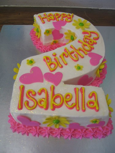 Isabella s number 2 birthday cake with fondant daisies ...