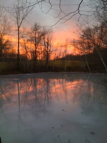 winter sunset ice colors frozenpond defection