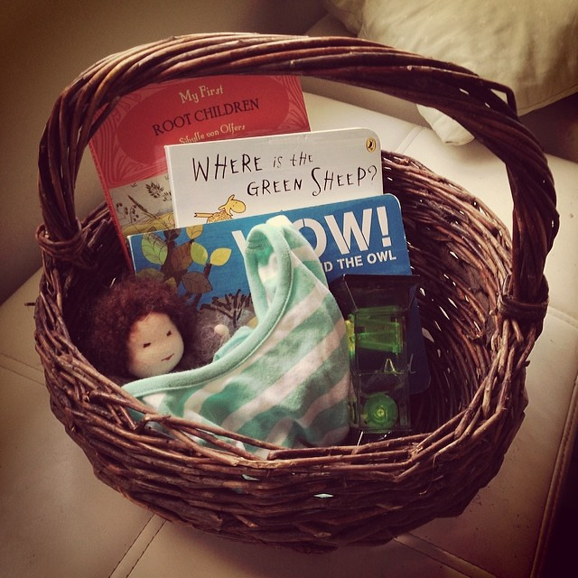 Tiny's bedtime basket #gentletransitions  #bedtime #nurture #three