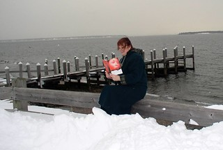 READING AT THE WATERFRONT ON ACQUIDNECK ISLAND, R. I.